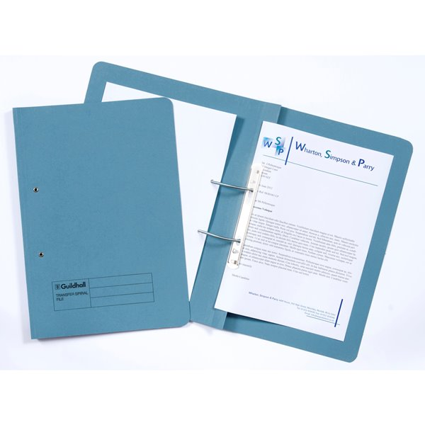Guildhall Spiral Files 315gsm 350x242mm Blue PK50