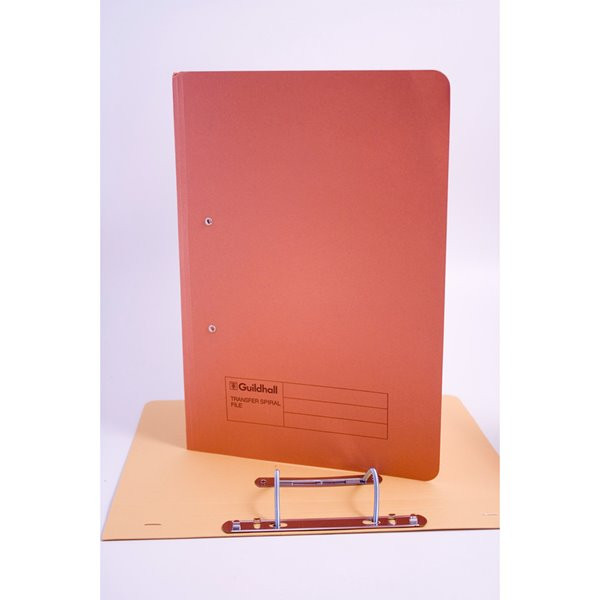 Guildhall Transfer Spring Files 38mm Foolscap Orange PK50