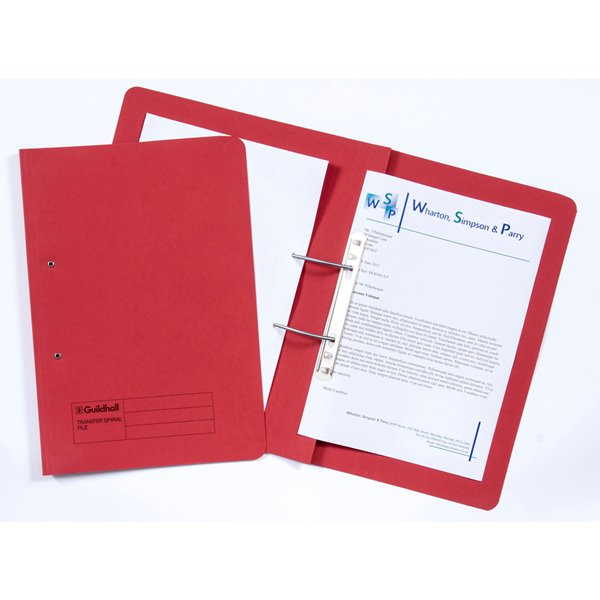 Guildhall Transfer Spring Files 38mm Foolscap Red PK50