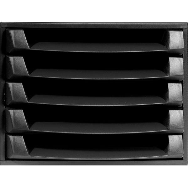 Drawers Exacompta Eco Desktop Recycled Plastic 5 Drawer Set Black