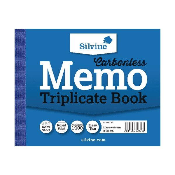 Silvine Carbonless Triplicate Book 102x127mm PK5