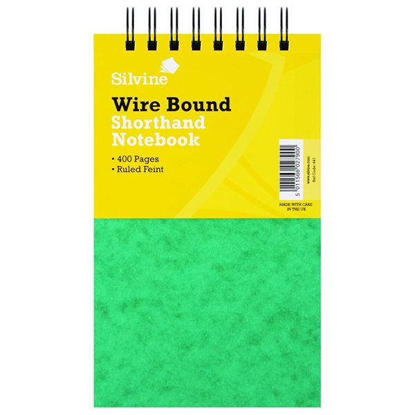 Spiral Note Books Silvine Lux Twinwire Shorthand Stiff Covered Notebook PK6
