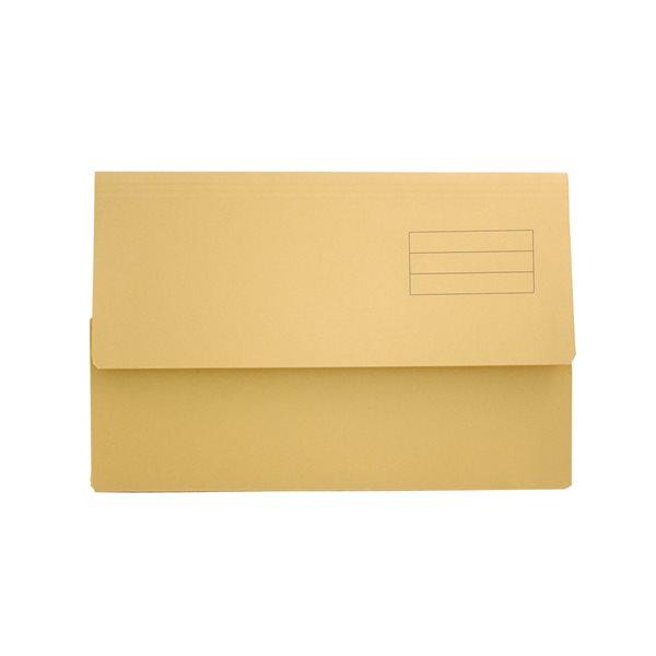 Popper Wallets Value Document Wallet Foolscap Yellow PK50