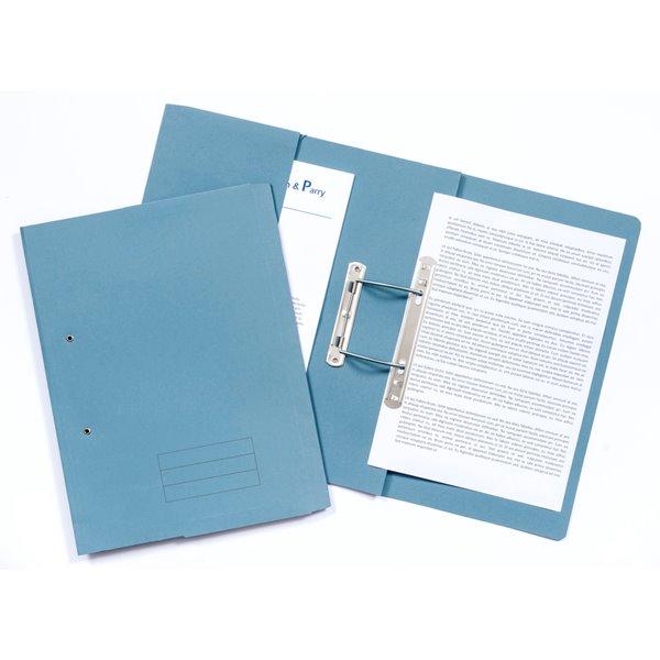 Document Wallets Value 285gsm Pocket Spiral File Foolscap Blue PK25