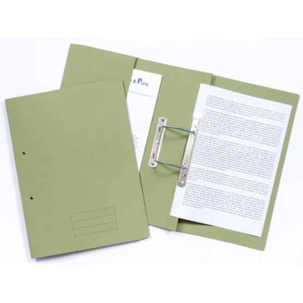 Document Wallets Value 285gsm Pocket Spiral File Foolscap Green PK25