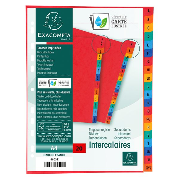 Dividers Europa A-Z Dividers A4 Assorted 4803Z (PK1)
