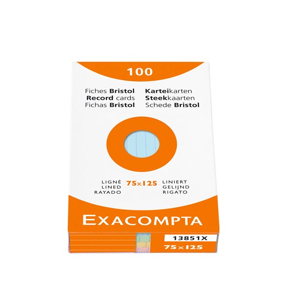 Exacompta Record Cards Lined 75x125mm Assorted 13851X (PK100)