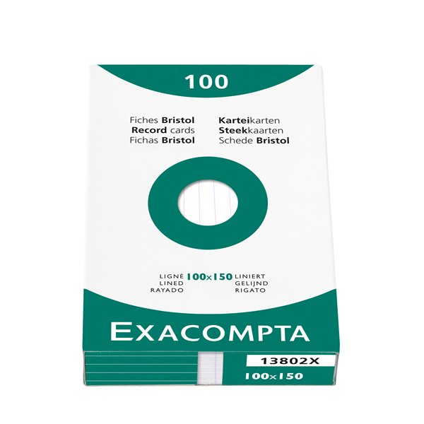 Exacompta Record Cards Lined 100x150mm White 13802X (PK100)