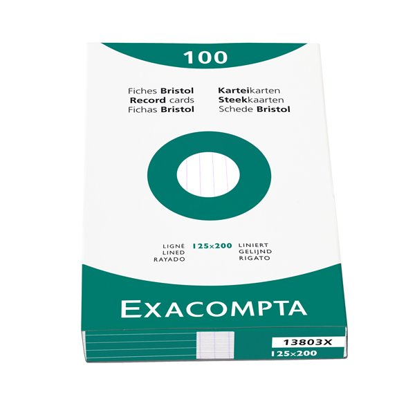 Exacompta Record Cards Lined 125x200mm White 13803X (PK100)
