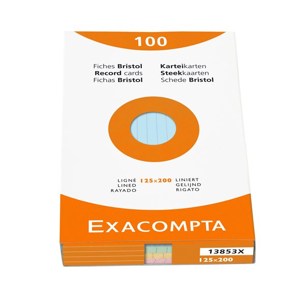 Exacompta Record Cards Lined 125x200mm Assorted 13853X (PK100)