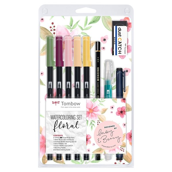 Colouring Pens Towbow Watercolouring Set Floral