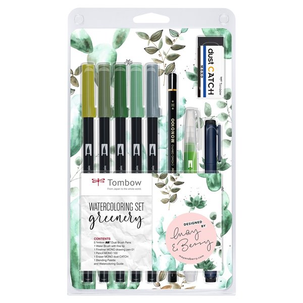 Colouring Pens Tombow Watercolouring Set Greenery