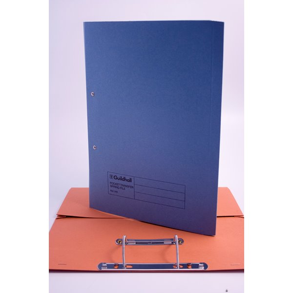 Guildhall Pocket Transfer File Foolscap 420gsm Blue PK25