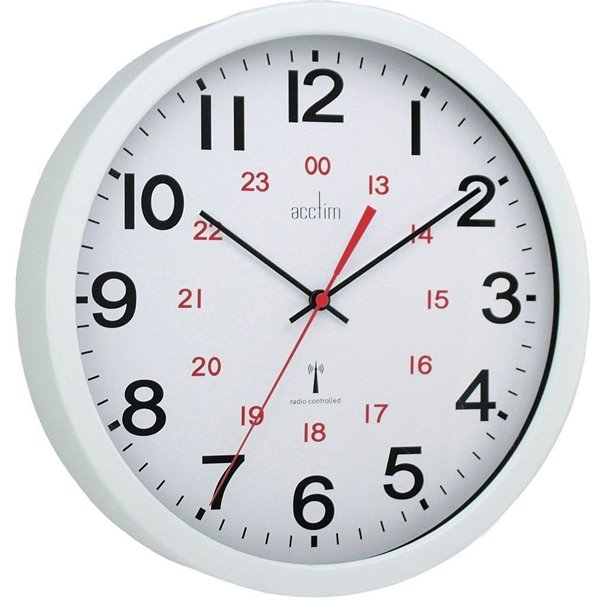 Wall Acctim Controller Wall Clock Radio Controlled 30cm Wht 74172