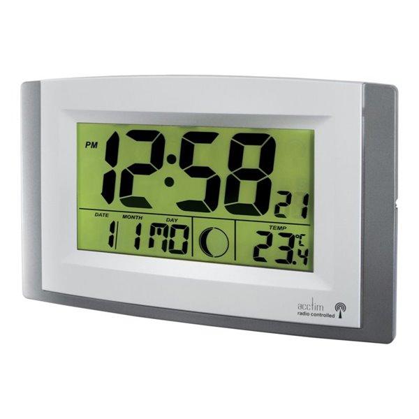 Wall Acctim Stratus Radio Control LCD wall Clock Silver 74057SL