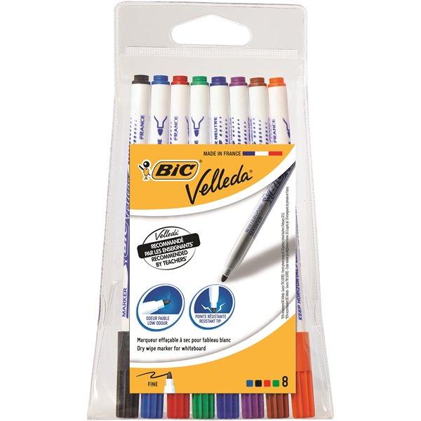 Drywipe Markers Bic Velleda Whiteboard Marker 1721 Assorted PK8
