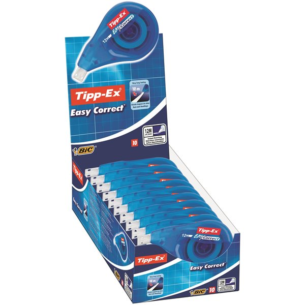 Correction Tape Bic Tipp-Ex EasyCorrect Correction Roller Tape White PK10