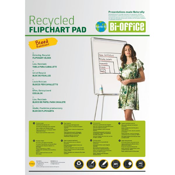 Bi-Office Earth Flipchart Pad  Plain  40 sheets 55 GSM