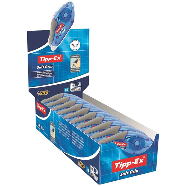 Tipp-Ex Soft Grip Correction Tape Roller (Pack 10)