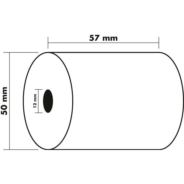 Tally Rolls Receipt Rolls 1ply 60g 57x50x12mm 20m PK10