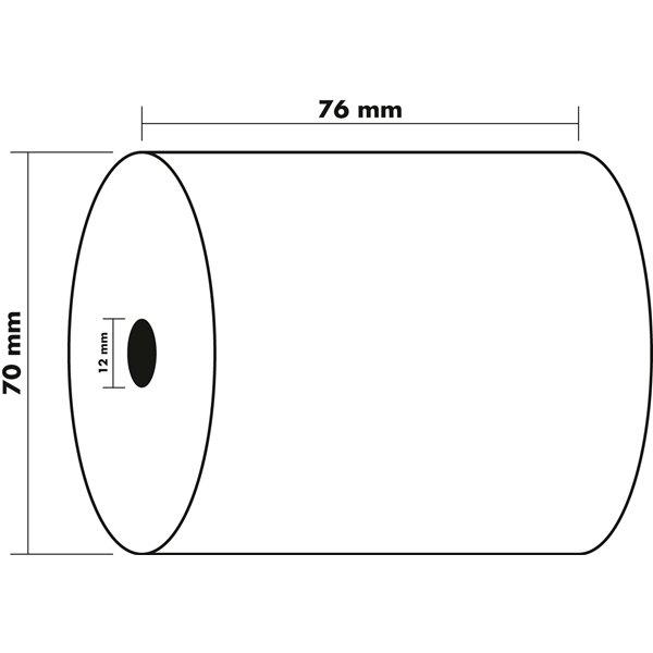Receipt Rolls 2ply 57g 76x70x12mm 25mm PK10