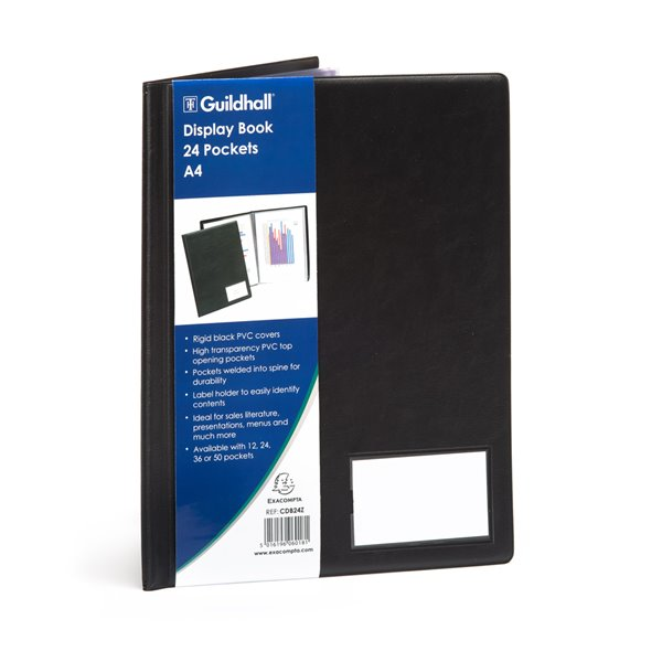 Guildhall Display Book A4 24 Pockets Black