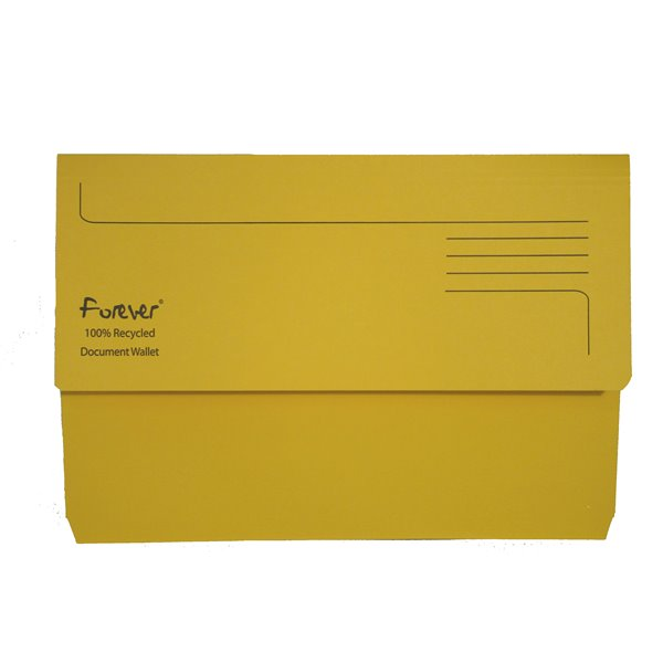 Forever Document Wallet Foolscap 290gsm Yellow PK25