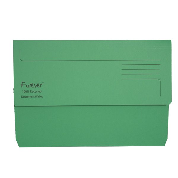 Forever Document Wallet Foolscap 290gsm Green PK25