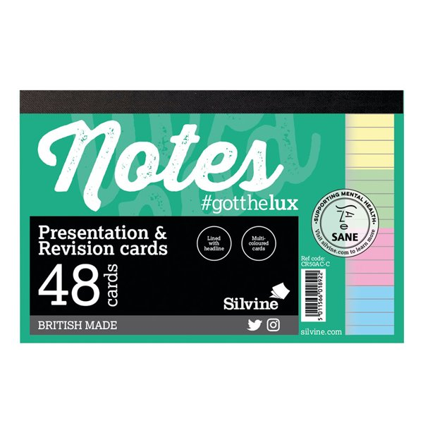 Silvine Revision Presentation And Note Cards Assorted PK48