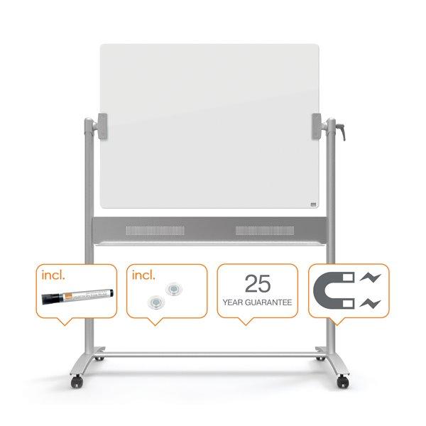Glass Boards Nobo Diamond Glass Magnetic Mobile Board 1200x900mm