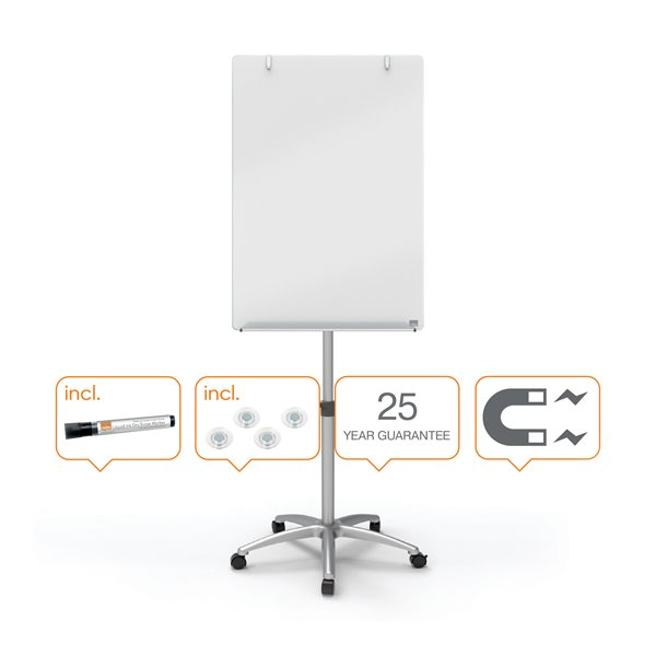 Nobo Glass Mobile Easel 700x1000mm