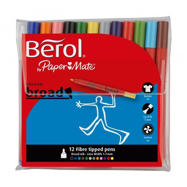 Colouring Pens Berol Color Broad Fibre Tipped 1.7mm Assorted PK12