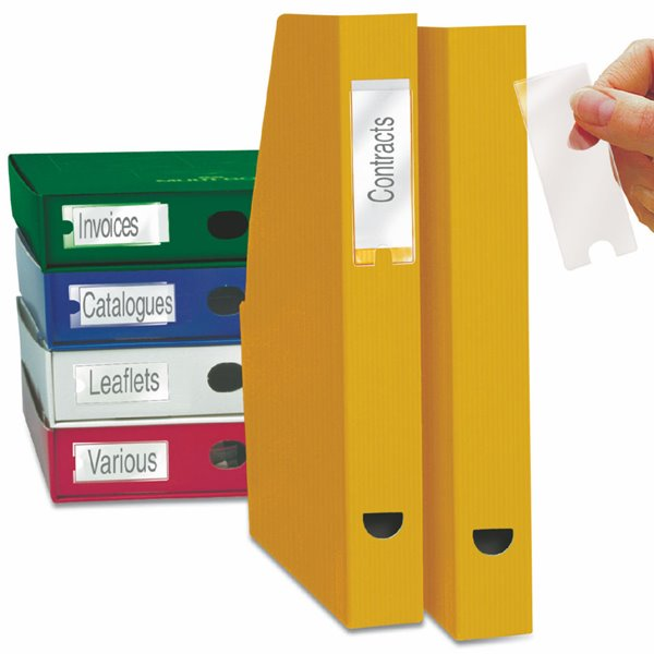 Self Adhesive Pockets 3L Label Holders Self Adh and Inserts 62x150mm 10345 (PK6)