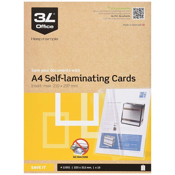 Laminating Machines 3L Self Laminating Cards A4 11051 (PK10)