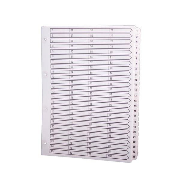 Indexes Exacompta A4 Index 160gsm 1-100 White