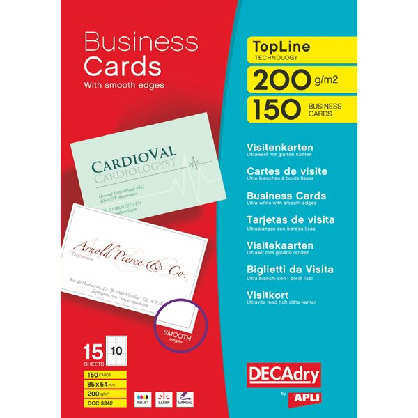 Business Cards Decadry TopLine White Straight Corner Business Cards PK150