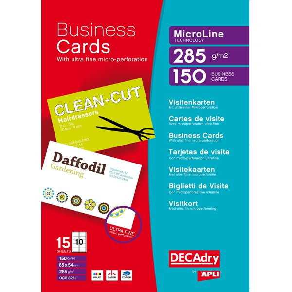 Business Cards Decadry MicroLine Bright WT 285gsm  Business Cards PK150