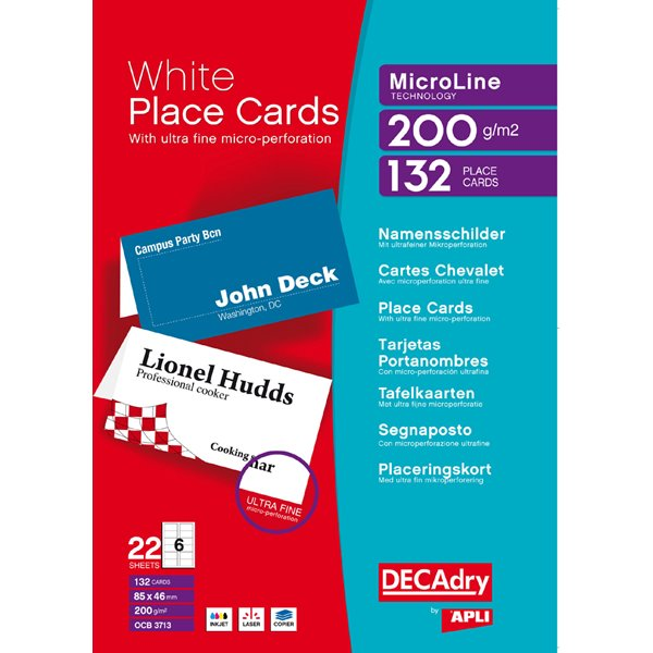 Business Cards DECadry (85 x 46mm) 200gsm Folding Place Cards White PK132