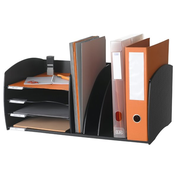 Desk Tidies Fast Paper Desktop Organizer 4 Comp Black