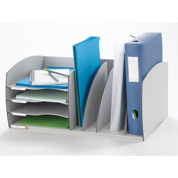 Desk Tidies Fast Paper Desktop Organizer 4 Comp Grey