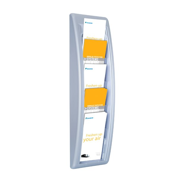 Literature Holders Fast Paper 1/3 A4 Quick Fit Wall Display Silver