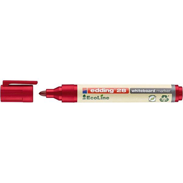 Drywipe Markers edding 28 EcoLine Whiteboard Bullet Tip Marker Red PK10