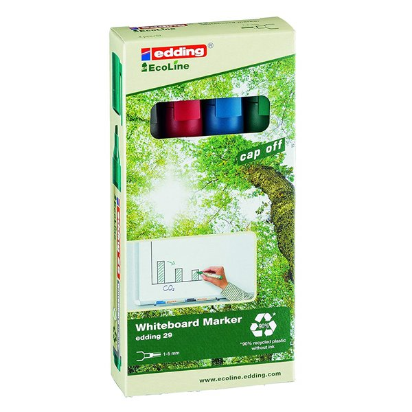 Drywipe Markers edding 29 EcoLine Whiteboard Chisel Tip Marker Assorted PK4