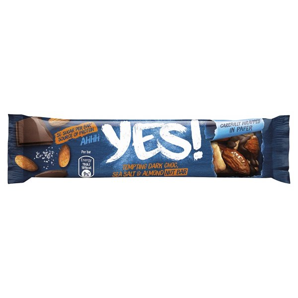 Yes Dark Choc Sea Salt and Almond Nut Bar 24x35g (Paper)