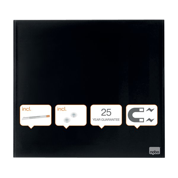 Magnetic Nobo Diamond Drywipe Board Magnetic 450x450mm Black