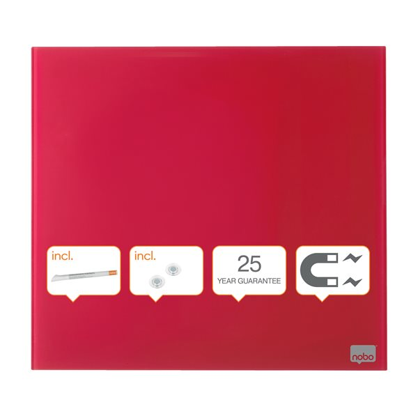 Magnetic Nobo Diamond Drywipe Board Magnetic 300x300mm Red