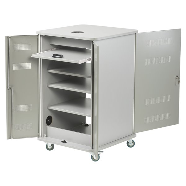 Steel Nobo Multimedia Cabinet Silver/Grey