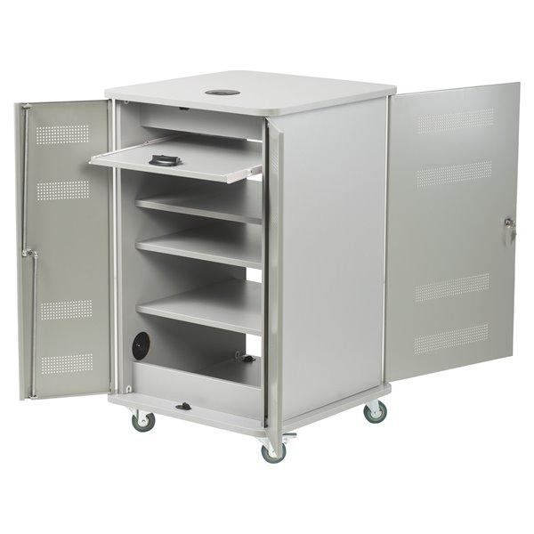 Nobo Multimedia Cabinet Silver/Grey
