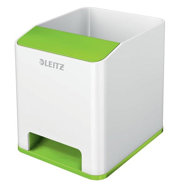Desk Tidies Leitz WOW Sound Pen Holder Dual Colour White/Green
