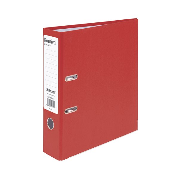Lever Arch Files Rexel Karnival LAF Paper over Board 70mm A4 Red PK10